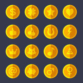 Set of flat gold coins — Stock Vector