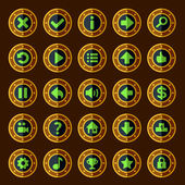 Flat steam punk game buttons — Stock Vector