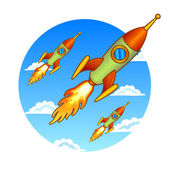 Vintage, old rockets on a sky background — Vector de stock