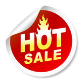 Hot sale sticker badge with flame — Stock Vector