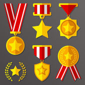 Flat medals and awards set with stars icon — Stock Vector