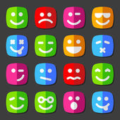 Flat vector emotion icons with smiley faces — Stock Vector