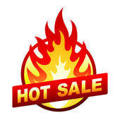 Hot sale fire badge, price sticker, flame — 图库矢量图片