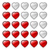 Game web rating hearts set — Stock Vector