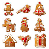 Set of Christmas ginger breads illustration for your design — Stock Vector