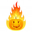 Halloween pumpkin on fire — Stock Vector #49394797