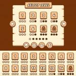 Постер, плакат: Wooden level selection game asset