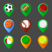 Mapping geo tag pin icon set with balls — Stock Vector