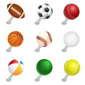 Vector sports ball pointers, push pin set — Stock Vector