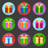 Flat gift box icons set — Stockvector