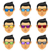 Male boy head with sunglasses — Stock Vector