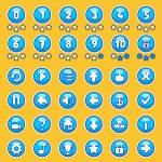 Постер, плакат: Aqua game buttons set