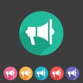 Haut-parleur plat, icône de mégaphone — Vecteur