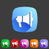 Flat loudspeaker, megaphone icon — Stock Vector