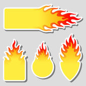 Fire, flame tag label set — Stock Vector