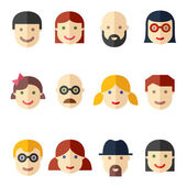 Flat avatars, faces, people icons — Vector de stock