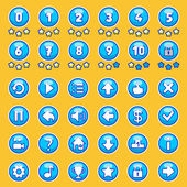 Aqua game buttons set — Stock Vector