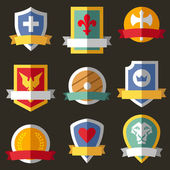 Vector coats of arms, shields, ribbons — Vector de stock