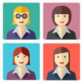 Plat kleurrijke zakenvrouw avatar pictogrammen — Stockvector