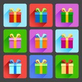 Flat gift box icons set — Stok Vektör