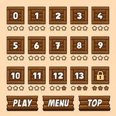 Wooden box level selection panel with buttons for game — Stock Vector