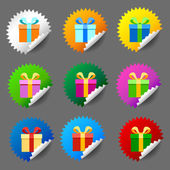 Gift box round label set — Vector de stock