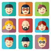 Flat avatar icons, faces, people icons — Stock Vector