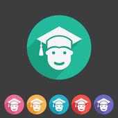 Student in graduation cap, flat icon — Stock Vector