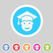 Student in graduation cap, flat icon — Stock Vector