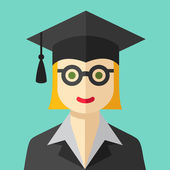 Smiling graduate student flat icon — Stock Vector
