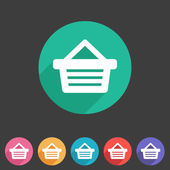 Shopping basket flat icon — Vecteur