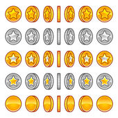 Star coins rotation — Stock Vector