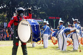 Do marching band by Indonesian Air Force cadets. — Stock Photo