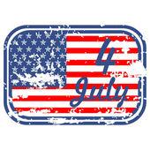 グランジ、第 4 回アメリカ ゴム印、ベクトル図 7 月独立記念日の — ストックベクタ