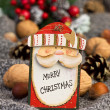 Christmas decoration with wooden figure of Santa Claus — Stock Photo