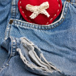 Heart on jeans — Stock Photo
