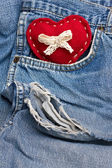 Heart on jeans — Stock fotografie