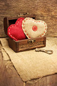 Chest with hearts, key — Foto Stock