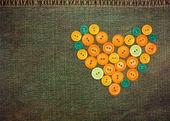 καρδιά από κουμπιά — Φωτογραφία Αρχείου