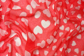 Fabric background with hearts — Stok fotoğraf