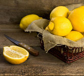 Lemons in a basket — Stock Photo