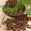 Stock Photo: Cedar nuts with pine cones
