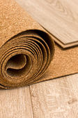 Cork roll and laminate — Stock Photo