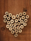 The heart of the old spools of thread — Stock Photo