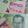 Customs stamp Airport Bangkok and Thai money — Foto Stock #39772537