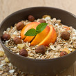 Muesli with fruit and nuts — Stock Photo