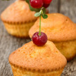Cupcakes with a cherry — Stock Photo #39965637