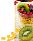 Cereal with berries and yogurt — Stock Photo