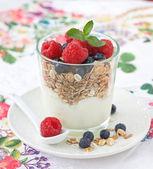 Breakfast with muesli — Stock Photo