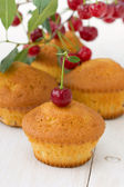 Cupcakes with a cherry — Stock Photo